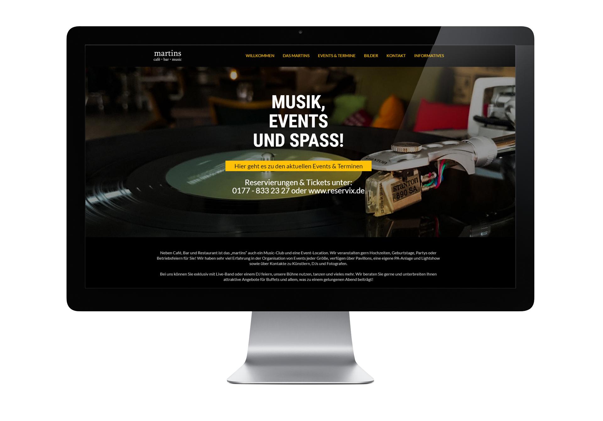 martins – café.bar.music - designt und programmiert von der Werbeagentur SchwarzWestphal in Dömitz