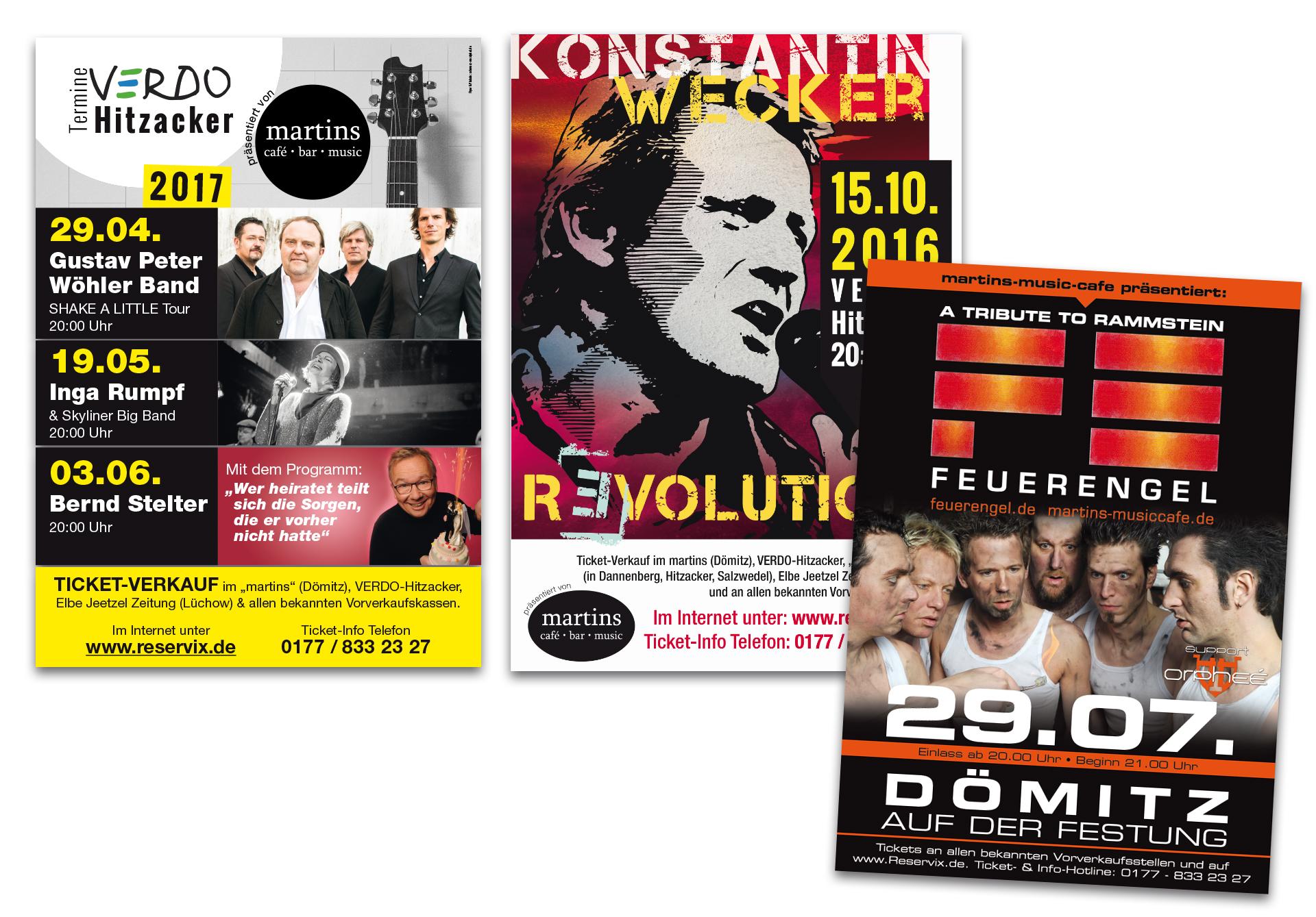 """Plakate für """"martins"""" Veranstaltungen - designt und produziert von der Werbeagentur SchwarzWestphal in Dömitz"""