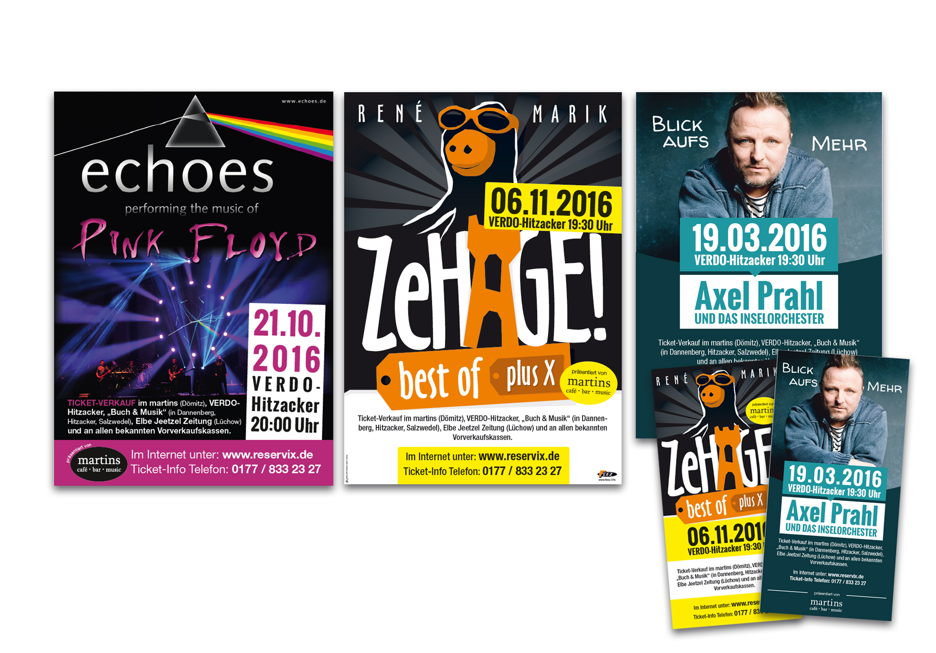 """Plakate und Flyer für Veranstaltungen organisiert von """"martins"""" - designt und produziert von der Werbeagentur SchwarzWestphal in Dömitz"""