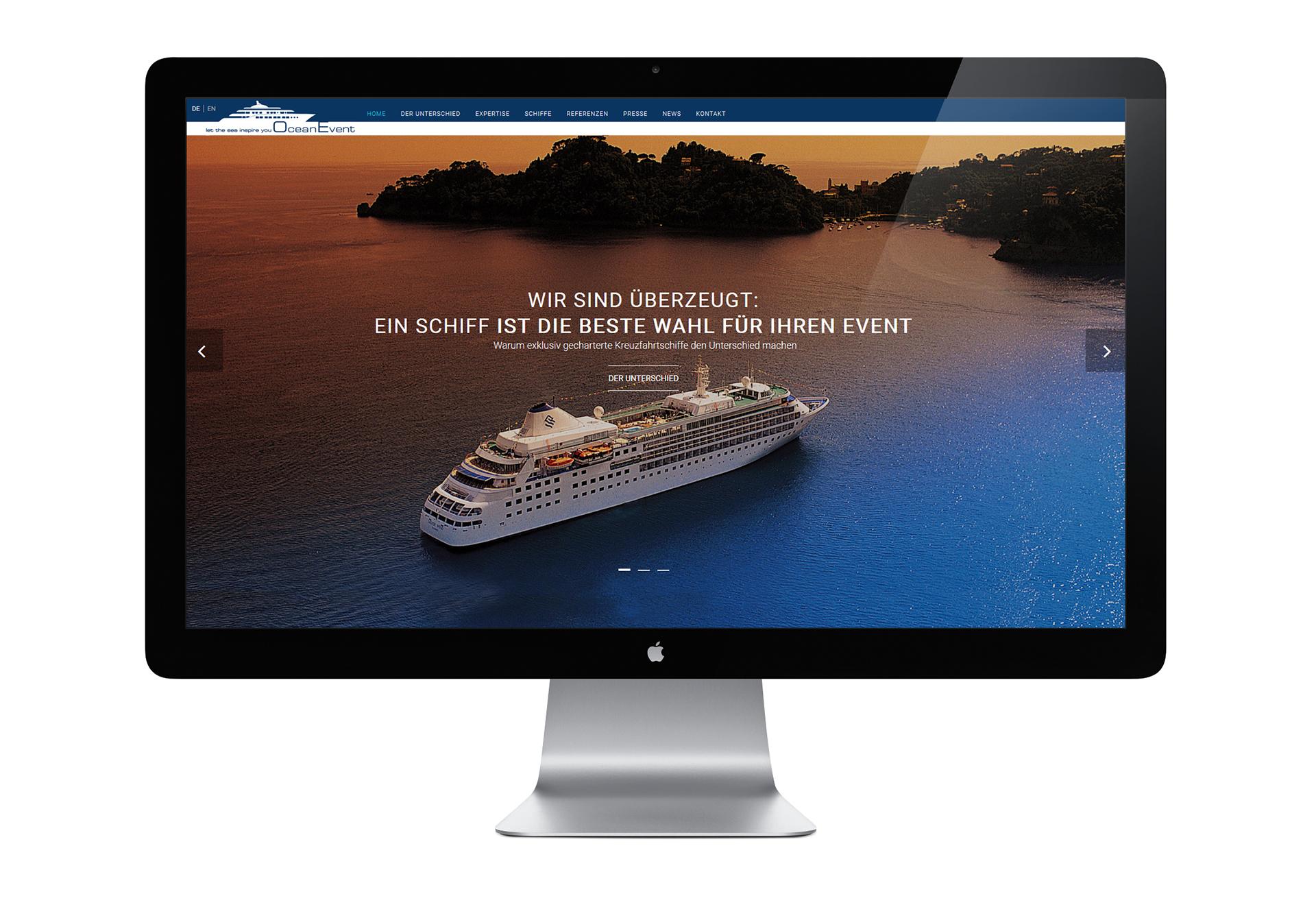 Website mit CMS für die Ocean Event GmbH - designt und programmiert von der Werbeagentur SchwarzWestphal in Dömitz