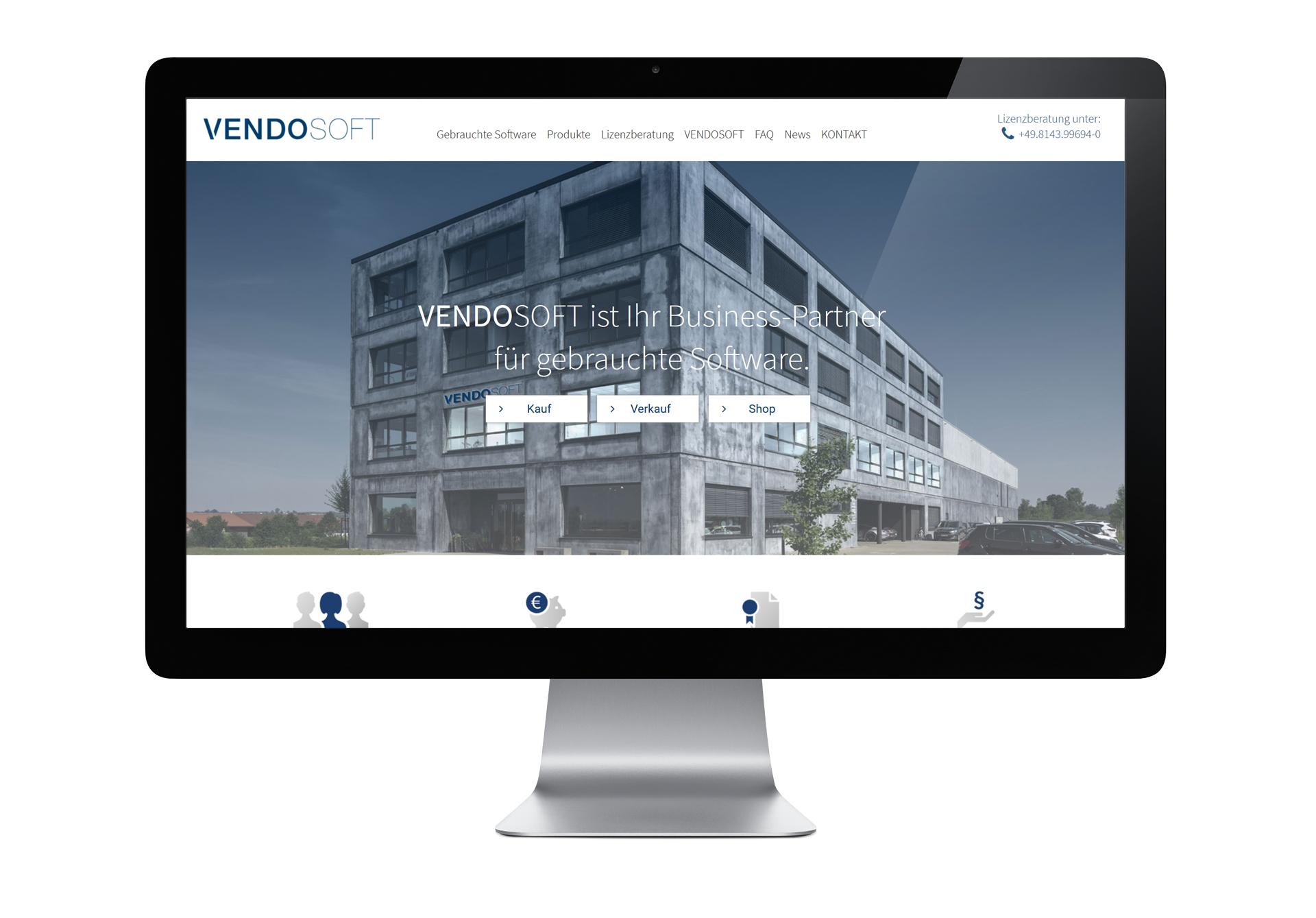 VENDOSOFT Website - gestaltet und programmiert von der Werbeagentur Schwarz Westphal in Dömitz